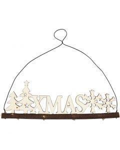 Decoro natalizio, XMAS, H: 7 cm, P 0,5 cm, L: 22 cm, 1 pz