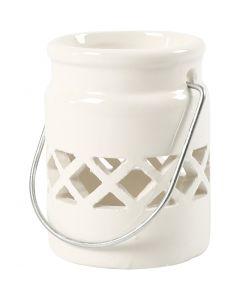Lanterna, H: 8 cm, diam: 6,2 cm, 2. sort, bianco, 2 pz/ 1 conf.