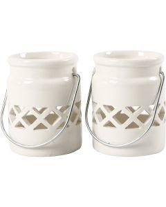 Lanterna, H: 8 cm, diam: 6,2 cm, 2. sort, bianco, 6 pz/ 1 scat.
