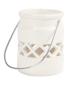 Lanterna, H: 8 cm, diam: 6,2 cm, bianco, 6 pz/ 1 scat.
