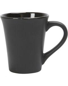Tazza, H: 10 cm, diam: 5,9-8,7 cm, nero, 1 pz