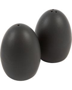 Set sale e pepe, H: 7 cm, opaco, nero, 6 set/ 1 scat.