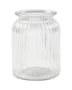 Barattolo in vetro, H: 14,5 cm, diam: 11 cm, misura buco 7 cm, 6 pz/ 1 scat.