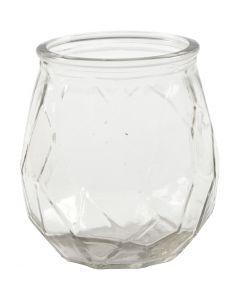 Portacandela in vetro, H: 10,5 cm, diam: 9,5 cm, misura buco 7,3 cm, 6 pz/ 1 scat.