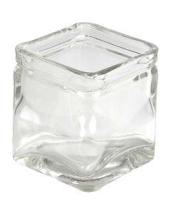 Portacandela quadrato, H: 8 cm, misura 7,5x7,5 cm, 12 pz/ 1 scat.