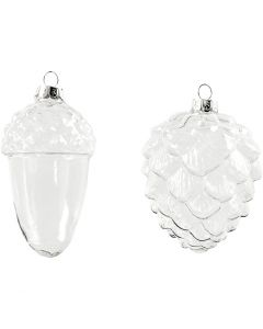 Ornamenti vetro, H: 9,5+10,5 cm, diam: 5,5+7,5 cm, transparent, 4 pz/ 1 conf.