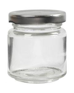 Barattolo in vetro, H: 6,5 cm, diam: 5,7 cm, 100 ml, transparent, 12 pz/ 1 scat.