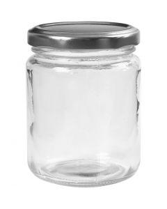 Barattolo in vetro, H: 9,1 cm, diam: 6,8 cm, 240 ml, transparent, 12 pz/ 1 scat.