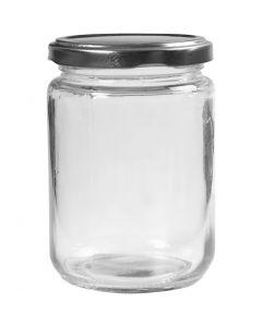 Barattolo in vetro, H: 11 cm, diam: 7,5 cm, 370 ml, transparent, 6 pz/ 1 scat.