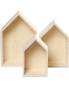 Scatole a forma di casa, H: 20,3+25,3+31 cm, P 10 cm, L: 13+16,2+20 cm, 3 pz/ 1 set
