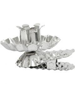 Clip per candela, diam: 40 mm, placcato argento, 8 pz/ 1 conf.