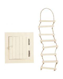 Porta di accesso mansarda e scala di corda, misura 9-20 cm, 1 set