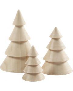 Albero di Natale in legno, H: 5+7,5+10 cm, diam: 3,5+5,4+6,7 cm, 3 pz/ 1 conf.