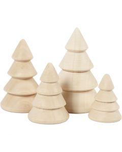 Albero di Natale in legno, H: 3,3+4,3+5,3+6,3 cm, diam: 2,3+3+3,2+4 cm, 4 pz/ 1 conf.