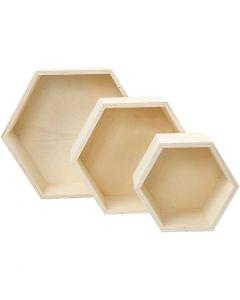Scatole portaoggetti, H: 14,8+19+24,2 cm, P 10 cm, 3 pz/ 1 set