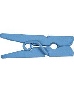 Mini molletta, L: 25 mm, L: 3 mm, blu, 36 pz/ 1 conf.