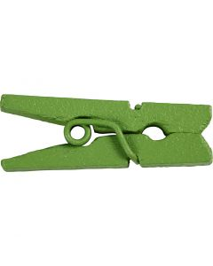 Mini molletta, L: 25 mm, L: 3 mm, verde, 36 pz/ 1 conf.