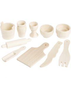 Mini attrezzi da cucina in legno, L: 40-60 mm, 10 pz/ 1 conf.