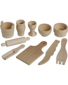 Mini attrezzi da cucina in legno, L: 40-60 mm, 50 pz/ 1 conf.
