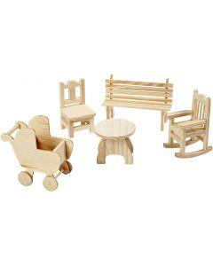 Mobili in miniatura, tavolo da giardino, carrozzina, sedia, sedia a dondolo, panchina, H: 5,8-10,5 cm, 50 pz/ 1 conf.