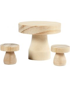Tavolino a fungo con sgabelli, misura 2,5x2,5 cm, 1 set