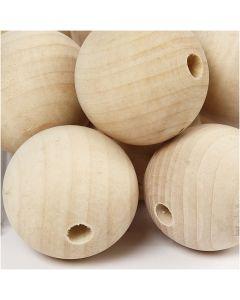 Perlina di legno, diam: 40 mm, misura buco 7 mm, 30 pz/ 1 conf.