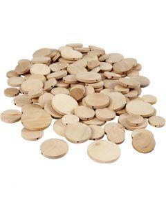 Bottone in legno, diam: 20-35 mm, spess. 4 mm, 320 pz/ 1 conf.