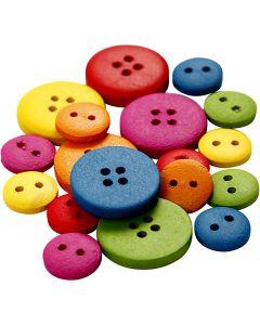 Bottoni in legno, diam: 12-20 mm, 2-4 buchi, colori asst., 360 pz/ 1 conf.