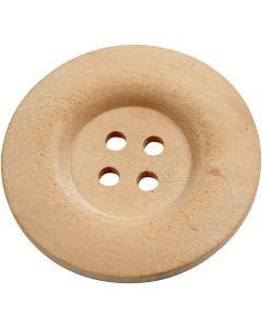 Bottoni in legno, diam: 40 mm, misura buco 3 mm, 4 buchi, 6 pz/ 1 conf.
