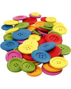 Bottoni in legno, diam: 25-40 mm, 2-4 buchi, colori asst., 144 pz/ 1 conf.