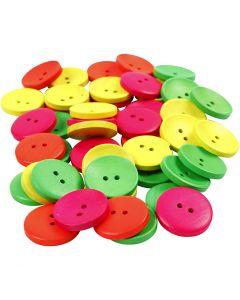 Bottoni in legno, diam: 25 mm, misura buco 2 mm, 80 pz/ 1 conf.