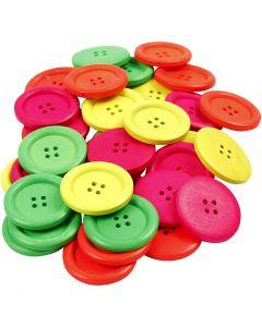 Bottoni in legno, diam: 35 mm, misura buco 2 mm, 60 pz/ 1 conf.