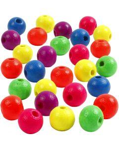 Mix neon perline in legno, diam: 8 mm, misura buco 2,5 mm, 50 g/ 1 conf.