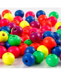 Mix neon perline in legno, diam: 8 mm, misura buco 2,5 mm, neonmix, 12 g/ 1 conf.