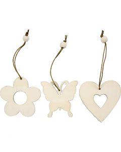 Decorazione in legno, fiore, farfalla, cuore, misura 6 cm, 9 pz/ 1 conf.