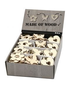 Decorazione in legno, fiore, farfalla, cuore, misura 6 cm, spess. 3 mm, 200 pz/ 1 conf.