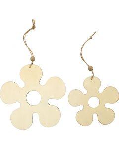 Decorazioni in legno, fiore, diam: 12,3+16,5 cm, spess. 5 mm, 2 pz/ 1 conf.