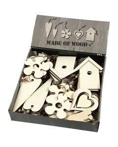 Decorazioni in legno, misura 6,5-21,5 cm, spess. 5 mm, 100 pz/ 1 conf.