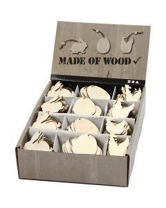Decorazione in legno, coniglio, uovo, gallina, misura 6 cm, spess. 3 mm, 200 pz/ 1 conf.