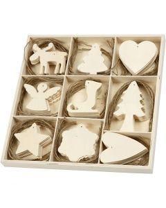 Decorazione in legno, Natale, misura 7-8 cm, 72 pz/ 1 conf.