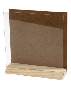 Lastra 3D con vetro, misura 15x15 cm, 1 set