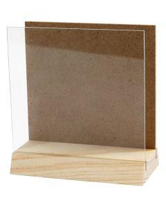 Lastra 3D con vetro, misura 10x10 cm, 1 set