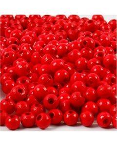 Perline in legno, diam: 5 mm, misura buco 1,5 mm, rosso, 6 g/ 1 conf.