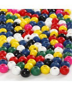 Mix perline di legno, diam: 4 mm, misura buco 1,5 mm, colori asst., 6 g/ 1 conf.
