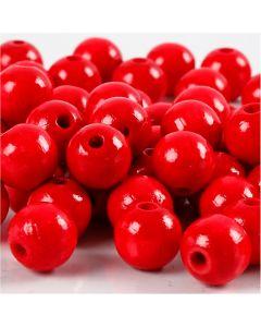 Perline in legno, diam: 12 mm, misura buco 3 mm, rosso, 22 g/ 1 conf.