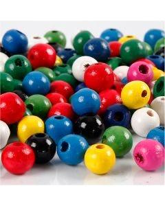 Mix perline di legno, diam: 8 mm, misura buco 2 mm, colori asst., 200 g/ 1 conf.
