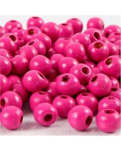 Perline in legno, diam: 8 mm, misura buco 2 mm, rosa, 15 g/ 1 conf., 80 pz