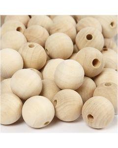 Perlina di legno, diam: 20 mm, misura buco 4 mm, 200 pz/ 1 conf.