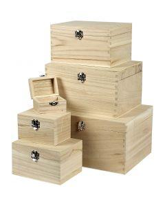 Set scatole, H: 5+7+9+11+13+15 cm, L: 8+11,8+15,8+20+24+27,7 cm, L: 5,8+8,8+12+15+18+21 cm, 6 pz/ 1 set
