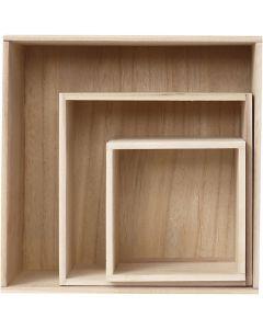 Scatole, H: 15x15+21,5x21,5+28x28 cm, P 12,5 cm, 3 pz/ 1 set